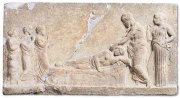 Ανάγλυφο αφιερωμένο στον Ασκληπιό και την Υγίεια. Ασκληπιείο Πειραιά, περ. 400 π.Χ., Αρχαιολογικό Μουσείο Πειραιά.