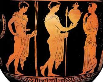 Ο Ορέστης προσφέρει στην Ηλέκτρα την κάλπη που υποτίθεται ότι περιέχει τα οστά του αδελφού της.