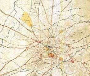 Ιστορικός Τοπογραφικός και Αρχαιολογικός Χάρτης Kaupert του 1874. Στη δυτική πλευρά, ο αρχαίος Ελαιώνας των Αθηνών.