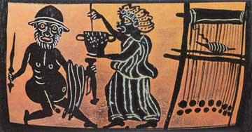 Η μάγισσα Κίρκη ενώ προσπαθεί να πείσει τον Οδυσσέα να πιει το μαγικό της ποτό.