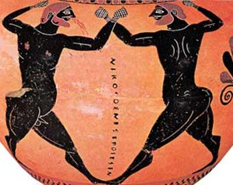 Σκηνή από πυγμαχικό αγώνα. Μελανόμορφος αμφορέας, 530 π.Χ., Βρετανικό Μουσείο, Λονδίνο.