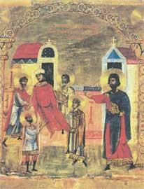 Οι άγιοι Πέντε θεραπεύουν μια γυναίκα που ήταν άφωνη και ακίνητη. 12ος αι., Μονή Αγ. Αικατερίνης Σινά.