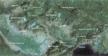 Η περιοχή της Ανατολ. Μακεδονίας, με τις θέσεις εξόρυξης και μεταλλουργικής παραγωγής.