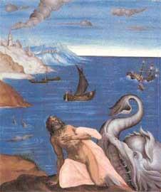 Ο προφήτης Ιωνάς. Θωράκιο, 18ος αι., Μουσείο Ζακύνθου.