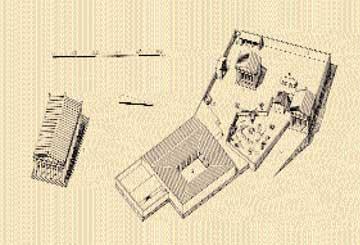 Αναπαράσταση του τεμένους του Ιππολύτου στην Τροιζήνα.