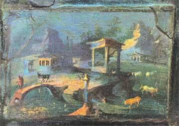 Ειδυλλιακό τοπίο, όπως απεικονίζεται σε τοιχογραφία από την Πομπηία. Εθνικό Μουσείο Νεαπόλεως.