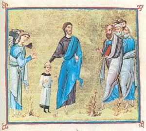 Ο Ιησούς ευλογεί ένα παιδί. Εικονογραφημένο χειρόγραφο, 11ος αι., Μονή Διονυσίου, Άγιον Όρος.