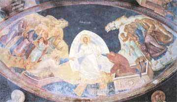 Ο Χριστός ανασηκώνει την πεπτωκυία γυναίκα Εύα-Παναγιά. Τοιχογραφία, 14ος αι., Κωνσταντινούπολη.