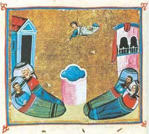 Η κολυμβήθρα της Βηθεσδά. Εικονογραφημένο χειρόγραφο, 11ος αι., Μονή Διονυσίου, Άγιον Όρος.