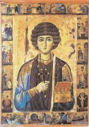 Ο άγιος Παντελεήμων, ιαματικός άγιος, με σκηνές από τον βίο του. Τέμπερα σε ξύλο, 13ος αι., Μονή Αγίας Αικατερίνης Σινά.