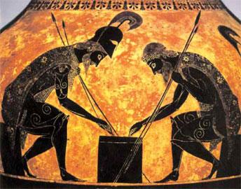 Ο Αχιλλέας και ο Αίας που παίζουν πεσσούς. Αττικός μελανόμορφος αμφορέας του Εξηκία (περ. 530 π.Χ.) Βατικανό, Museo Gregoriano