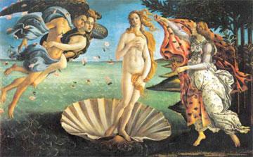 Η γέννηση της Αφροδίτης, όπως την αναπαράστησε σε πίνακά του ο διάσημος ζωγράφος Σάντρο Μποτιτσέλι (περ. 1485)