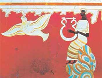 Τοιχογραφία από την αίθουσα του θρόνου του ανακτόρου της Πύλου (αναπαράσταση: Piet de Jong).