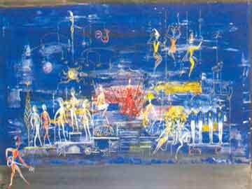 Στη δραματουργία οι ψυχικά ασθενείς συγγενεύουν με παραμυθένια όντα. Μακέτα σκηνικού, Το Όνειρο, Μ. Παλλάντιου, Εθν. Λυρική 1967