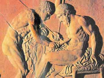 Ο Αχιλλέας θεραπεύει τον Τήλεφο (Αρχαιολογικό Μουσείο Νεαπόλεως).