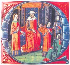Ο αρχαίος γιατρός Γαληνός απεικονίζεται με μεσαιωνική ενδυμασία να δέχεται δύο ασθενείς (Κώδικας Δρέσδης).