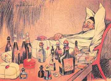Έγχρωμη λιθογραφία του Abel Faivre, από το γαλλικό περιοδικό L'assiette au Beurre (1902), που σατιρίζει την πολυφαρμακία.