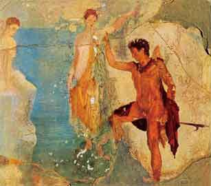 Ο Περσεύς ελευθερώνει την Ανδρομέδα, λεπτομέρεια από τοιχογραφία της Πομπηίας (Εθνικο Μουσείο Νεαπόλεως)