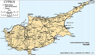 Χάρτης της Κύπρου (G. Hill, A History of Cyprus, τ. 1)