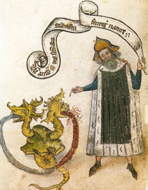 Τα στοιχεία του Πυρός και του Αέρος, τα οποία περιέχονται στη Γη και το Ύδωρ (μικρογραφία του 15ου αι.)