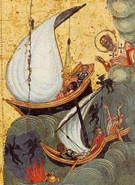 Απεικόνιση πυρφόρου βλήματος σε ναυμαχία (βυζαντινό χειρόγραφο)