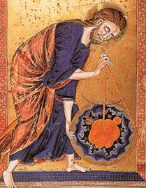 Ο Θεός κατασκευαστής του κόσμου (περ. 1250, Σχολιασμένη Βίβλος)