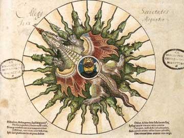 Οι αλχημιστικές διεργασίες σε σχέση με τις αλχημικές ώρες. Pierre Apien, Astronomicum Cesareum, Ingolstadt 1540.