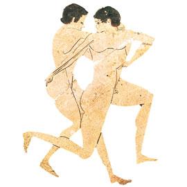 Σκηνή παλαίστρας από ερυθρόμορφο αγγείο, 5ος αι. π.Χ., Μουσείο Λούβρου, Παρίσι.