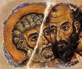 Ο ασπασμός των αποστόλων Πέτρου και Παύλου, τοιχογραφία, 12ος αι. Άγιον Όρος, Μονή Βατοπεδίου