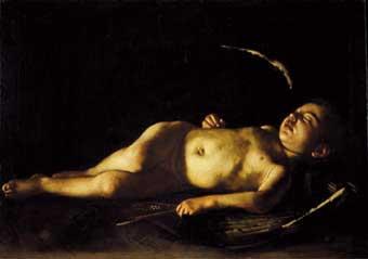 Caravaggio, Κοιμώμενος Έρως, λάδι σε καμβά, 1608, Galleria Palatina, Φλωρεντία.