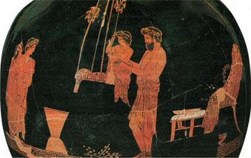 Σκηνή από τα Ανθεστήρια σε ερυθρόμορφο αγγείο. 5ος αι. π.Χ. Αρχαιολογικό Μουσείο Αθηνών, Συλλογή Σερπιέρη.