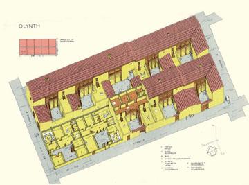Πρόταση αποκατάστασης νησίδας της Ολύνθου με δέκα «τυποποιημένες κατοικίες» (Haus und Stadt im klassischen Griechenland).