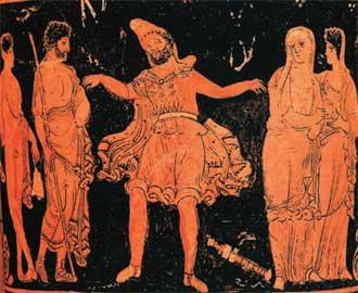 Αναπαράσταση της Εκάβης μετά την αιχμαλωσία της. Απουλική λουτροφόρος, 4ος αι. π.Χ.