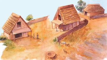 Ερέτρια. Αναπαράσταση των κτηρίων στην περιοχή του ιερού του Απόλλωνος Δαφνηφόρου κατά το α΄ μισό του 8ου αι. π.Χ.