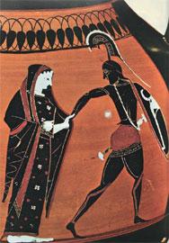 Ο Μενέλαος οδηγεί την Ελένη έξω από την πυρπολούμενη Τροία. 6ος αι. π.Χ. Μόναχο, Αρχαιολογικό Μουσείο.