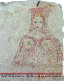 Από την τοιχογραφία της δυτικής πλευράς του κιβωτιόσχημου τάφου II (τύμβου Α της Αίνειας), 350-325 π.Χ. (Αρχ. Μουσείο Θεσ/νίκης)