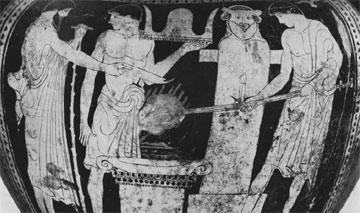 Κιονωτός κρατήρας, π. 470/460 π.Χ., Νεάπολη. Απεικονίζεται θυσία σε ερμαϊκή στήλη.