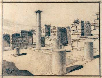 Δήλος, Οικία του Ινοπού. Σχέδιο της αυλής από τον Gerhard Poulsen στα 1912.