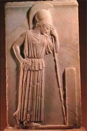 Η Σκεπτόμενη Αθηνά. Ανάγλυφο, 460 π.Χ. Μουσείο Ακροπόλεως.