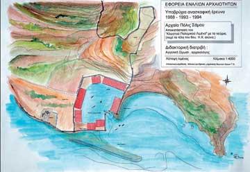 Αναπαράσταση σε κάτοψη της αρχαίας πόλεως Σάμου με τον «κλειστό» πολεμικό λιμένα.