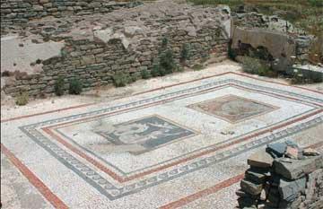 Δήλος, οικία των Τριτώνων, άποψη του oecus maior (AE) από ανατολικά.