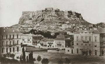 Η Ακρόπολη των Αθηνών από την πλατεία Συντάγματος, π. 1855/58. Φωτογραφία: Δ. Κωνσταντίνου.
