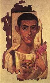 Πορτρέτο νεαρού άνδρα. Εγκαυστική σε λινό, πιθανόν σάβανο, από την Αντινοόπολη. Αίγυπτος, περίοδος Σεβήρων (193-235 μ.Χ.).