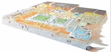 Αναπαράσταση της έπαυλης του Μάνιου Αντωνίνου (σχέδιο: Χρ. Τσακούμης, αρχιτέκτονας).