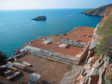 Καρθαία Κέας. Ο ναός του Απόλλωνος μετά το πέρας των εργασιών.