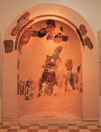 Η τοιχογραφία από το ναό των Αγ. Αποστόλων Μεσοχωρίου Καρπάθου, όπως εκτίθεται σήμερα στο Μουσείο.