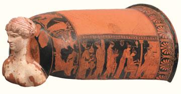 Αττικό ερυθρόμορφο επίνητρο από την Ερέτρια, π. 425 π.Χ. Εθνικό Αρχαιολογικό Μουσείο, Αθήνα.