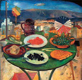 Σπύρος Βασιλείου, «Το τραπέζι της Καθαρής Δευτέρας», 1950. Ελαιογραφία σε ξύλο. Δημοτική Πινακοθήκη Ρόδου.