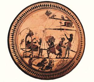 Η κύλιξ του Αρκεσίλα από το Vulci Ετρουρίας. Μέσα 6ου αι. π.Χ. Bibliothèque Nationale, Παρίσι.