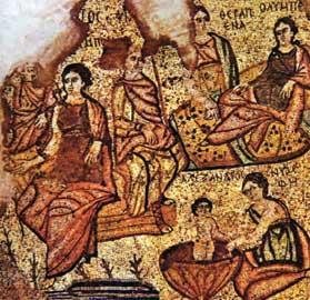 Απεικόνιση της γέννησης του Μ. Αλεξάνδρου σε ελληνορωμαϊκό ψηφιδωτό. Δεξιά διακρίνεται η Ολυμπιάδα. Βηρυττός, Εθνικό Μουσείο.